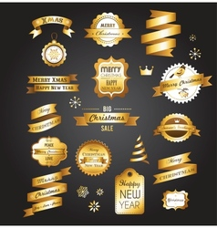 Christmas gold vintage labels elements and vector image vector image