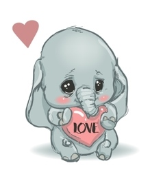 cute little cartoon elephant vector image vector image