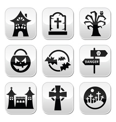 Halloween buttons set vector image vector image