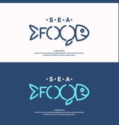 Modern conceptual set of logos sea food vector