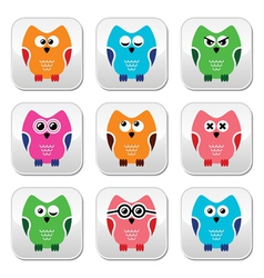 Owl cartoon icons set vector image vector image