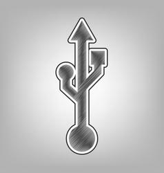 usb sign pencil sketch vector image vector image