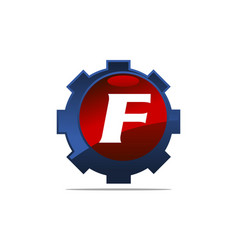 Gear logo letter f vector