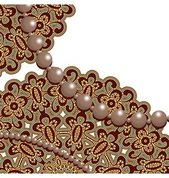 Lace and pearls vector image