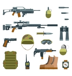 Military armor and weapon guns icons flat set vector image vector image