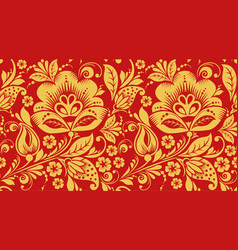 red and gold hohloma seamless pattern texture vector image vector image