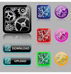 Set web buttons with gears vector image