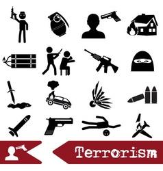 Terrorism theme set of simple icon eps10 vector
