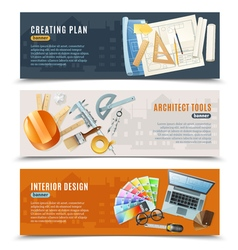 Construction Architect Tools Banners vector image vector image