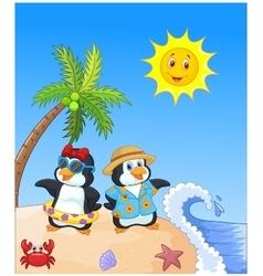 Cute cartoon penguin in summer holiday vector