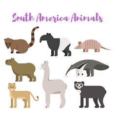flat style set animals of south america vector image vector image