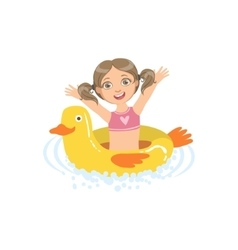 Girl in water with toy duck float vector