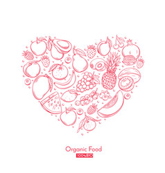 poster heart composition with hand drawn fruits vector image vector image