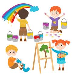 set of isolated children artist part 2 vector image