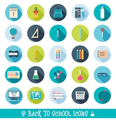 Set of school and education icons with shadows vector image