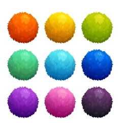 Colorful cartoon furry balls vector image vector image