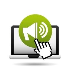 laptop speaker and cursor hand design vector image