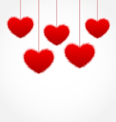 red hanging hearts for Valentines Day with copy vector image