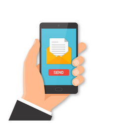 smartphone email sending concept vector image