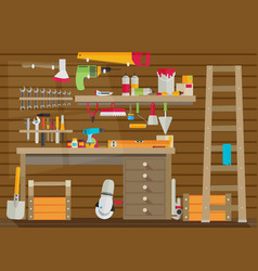workspace carpenter tools trendy flat icon on vector image
