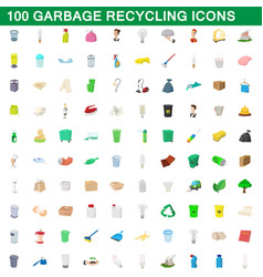 100 garbage recycling icons set cartoon style vector