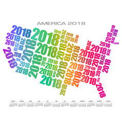 2018 america calendar made out of numbers vector image