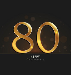 80 years happy anniversary card vector
