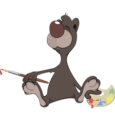 A brown bear the artist Cartoon vector image