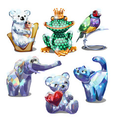 a set of animal figurines of faceted gems isolated vector image