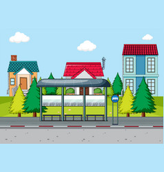 a simple bus stop scene vector image