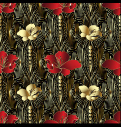 Abstract floral 3d seamless pattern vector