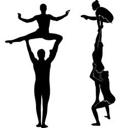 Acrobatic stunt gymnasts acrobats black vector