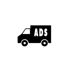 Ad placement on truck simple icon vector
