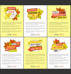 Autumn fall costs reduction banners advertisements vector