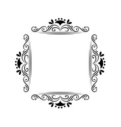Black contour vintage classic monogram frame vector