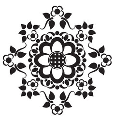 black tattoo mandala flower on white background vector image