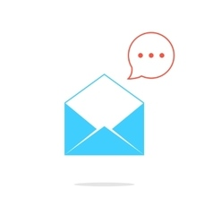Blue opened letter with red speech bubble vector