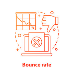 Bounce rate decreasing concept icon vector
