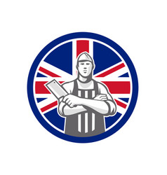 British butcher front union jack flag icon vector