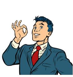 businessman smile okay gesture isolate on white vector image