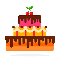 Cake with chocolate flat material design isolated vector