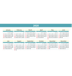 calendar 2020 week starts from sunday business vector image