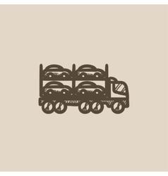 Car carrier sketch icon vector