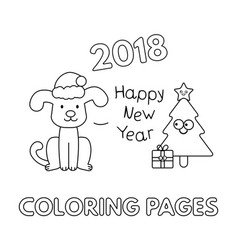 christmas coloring pages with cartoon dog vector image