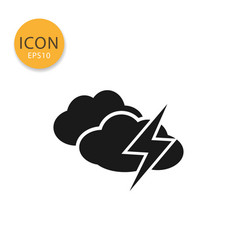 clouds with thunder icon isolated flat style vector image