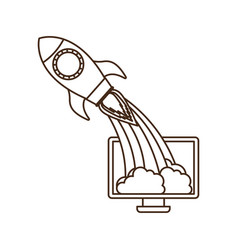 Computer screen with flying rocket isolated icon vector