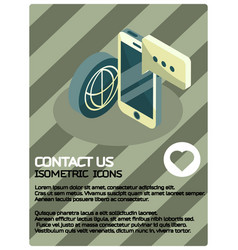 contact us color isometric poster vector image