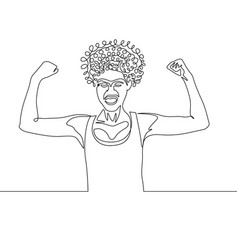 Continuous one line drawing curly girl power pose vector