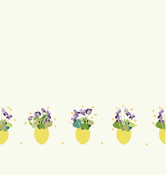 Cream border with viola and easter egg vector