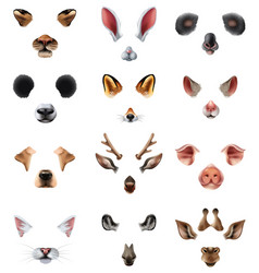 Cute animal masks video chat application effect vector